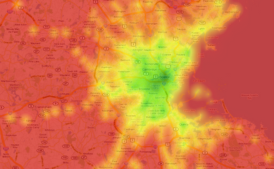 Transit Score heat map of Boston